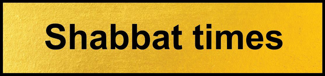 Shabbat times