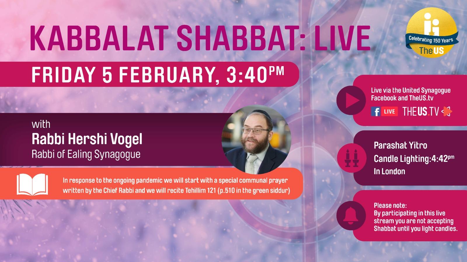 Kabbalat Shabbat: Live at 3:40pm