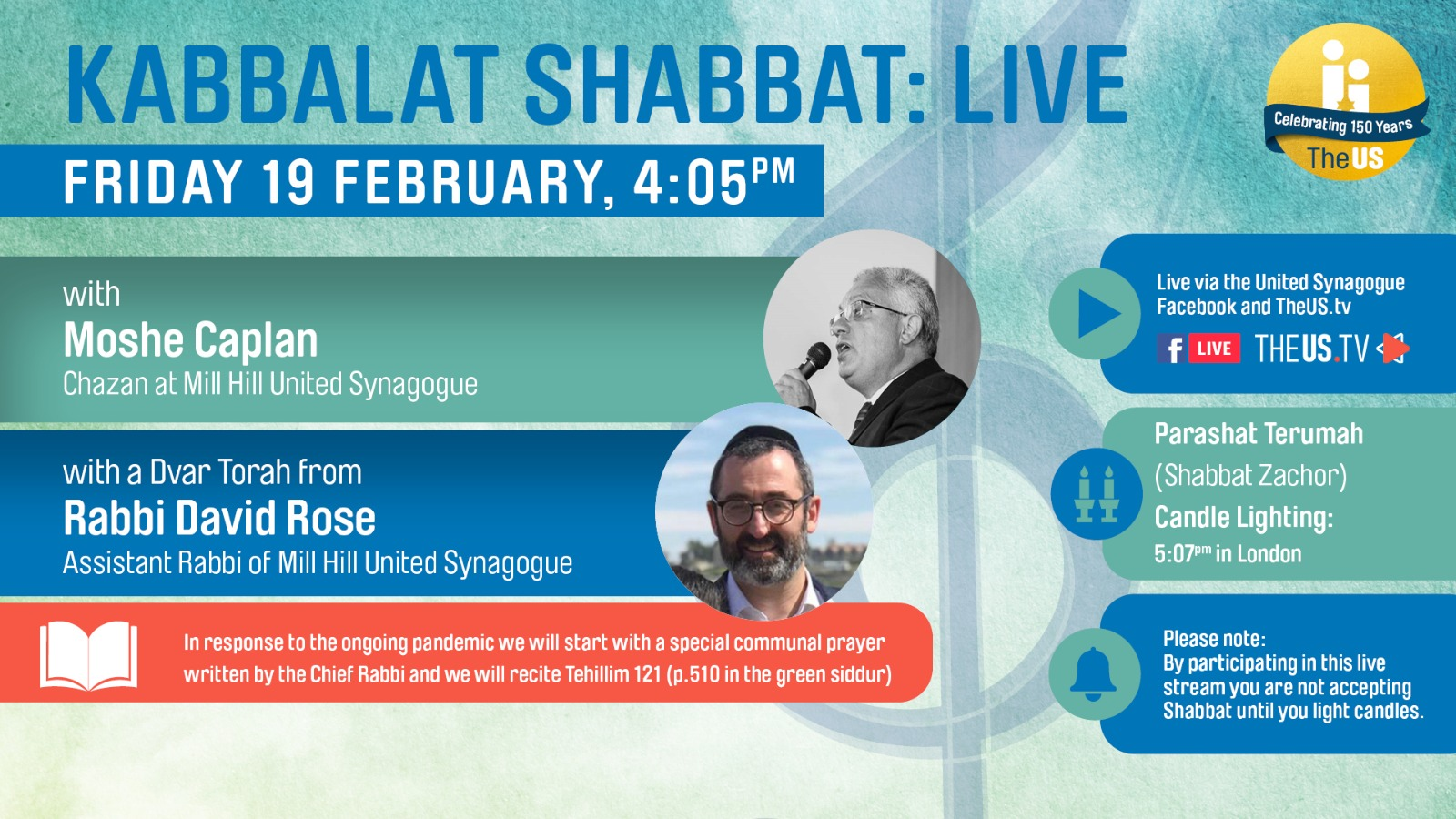 Kabbalat Shabbat: Live at 4:05pm