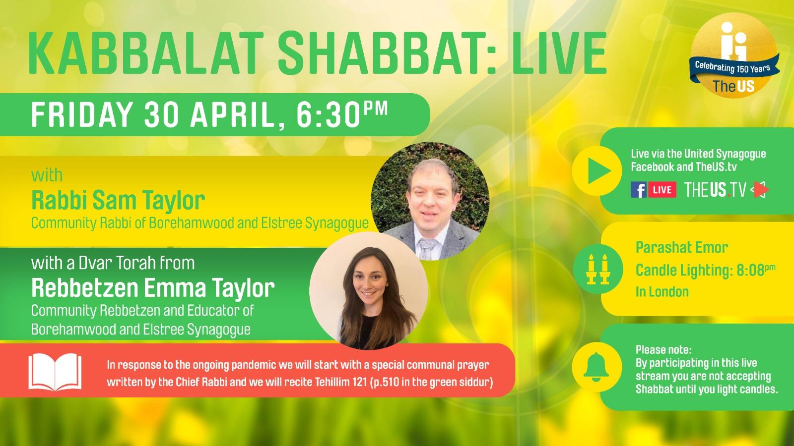 Kabbalat Shabbat Live at 6:30pm