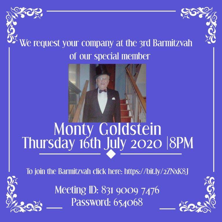 Monty Goldstein - 3rd Barmitzvah Zoom invitation