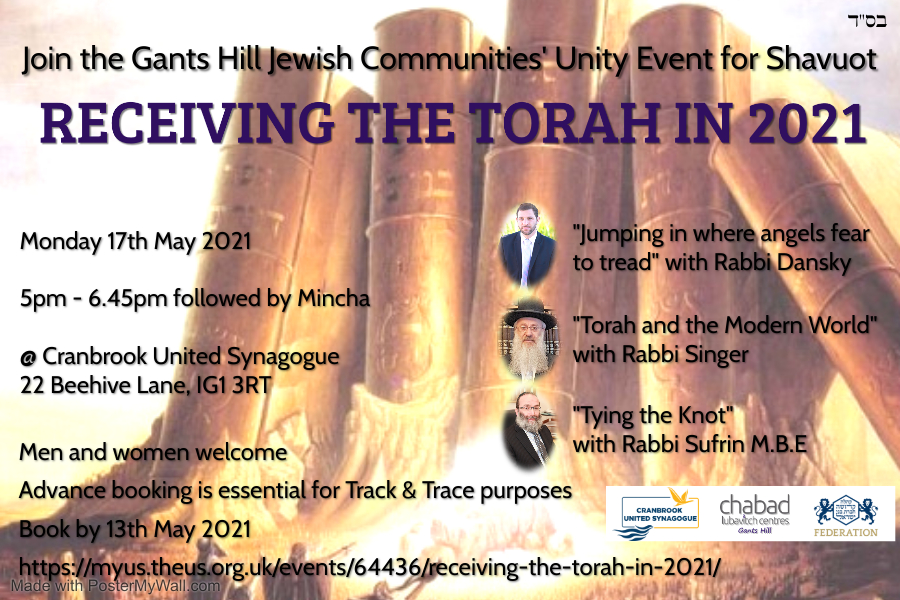 Receiving the Torah in 2021 - Gants Hill Jewish Communities' Unity Event for Shavuot