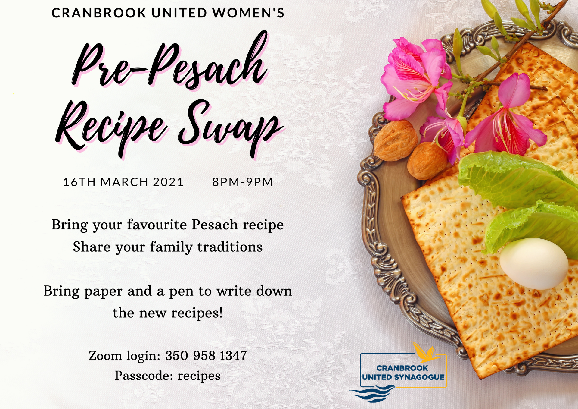 Pre-Pesach Recipe Swap