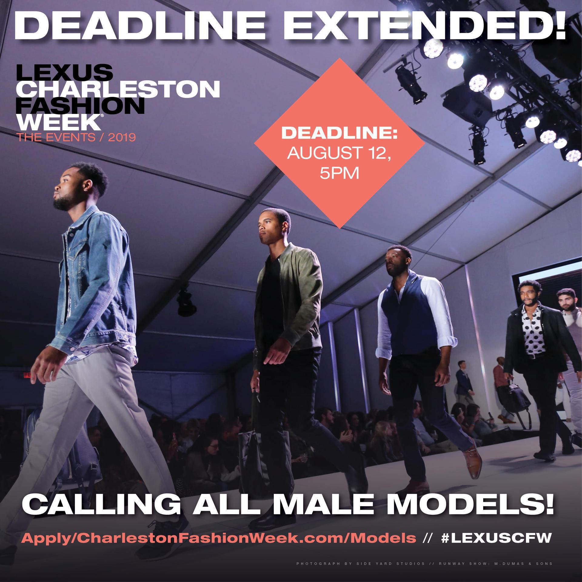 Lexus 2019 CFW - Calling All Male Models - Deadline Extended!