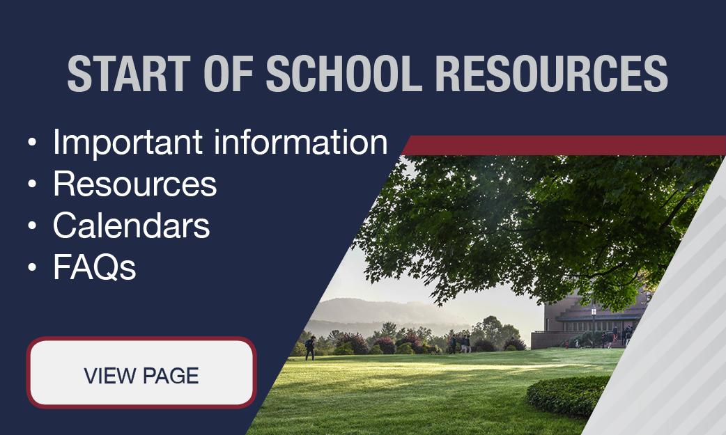 Start of School Resources