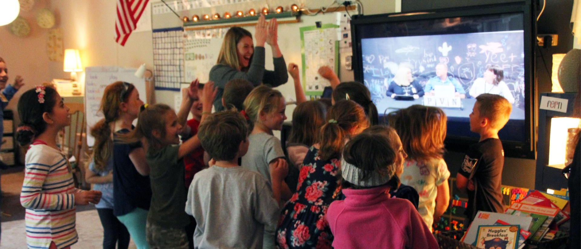 Image of Mrs. Hebeler's first graders celebrating PVN's National School of Character announcement