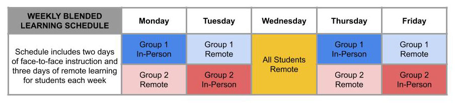Image of Weekly Blended Learning Schedule