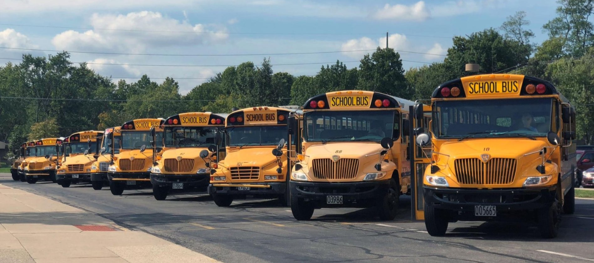 Image of school buses parked at Centerville High School