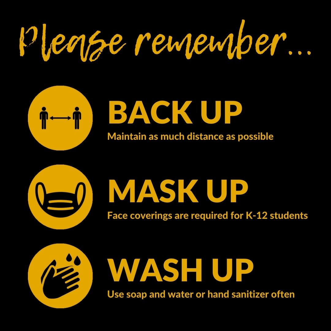 Image that reads Please Remember Back Up, Mask Up, Wash Up