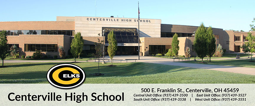 Image of Centerville High School logo and address