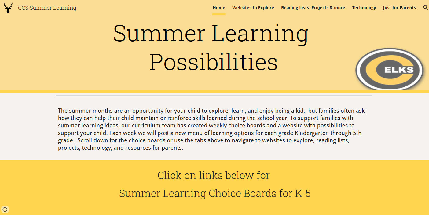 Screenshot of Summer Learning Possibilities website