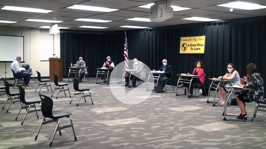 Image of Centerville Board of Education at July 2020 meeting