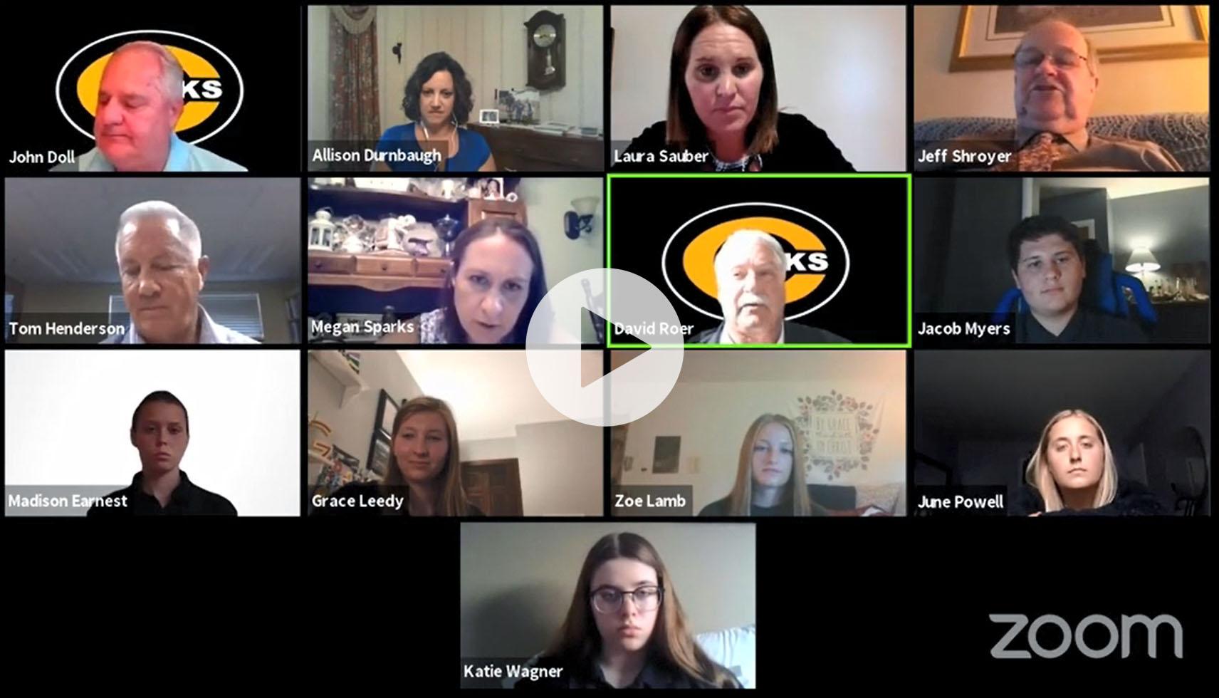 Screenshot of Board of Education virtual meeting