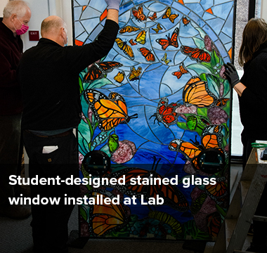 Student-designed stained glass window installed at Lab