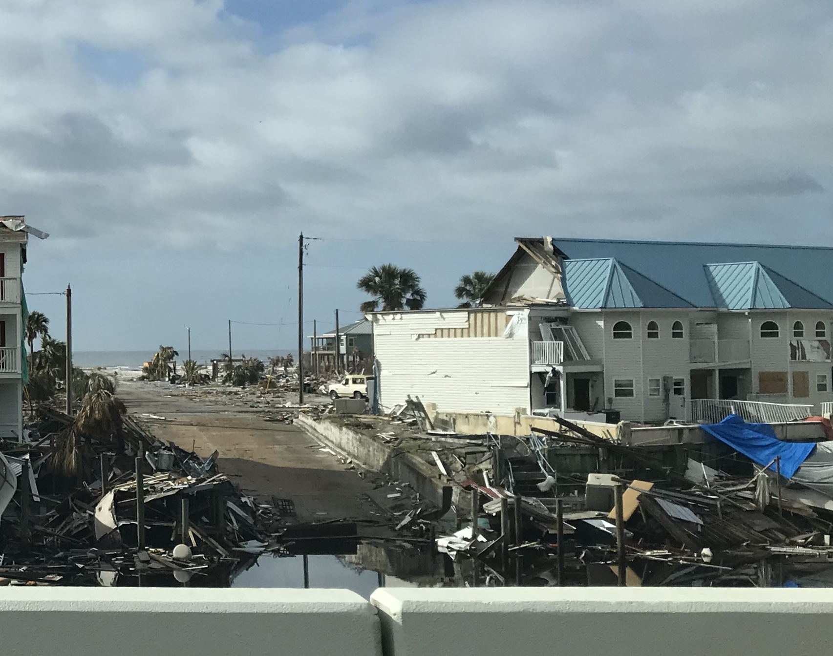 Hurricane destruction near the beach in the Panhandle of Florida