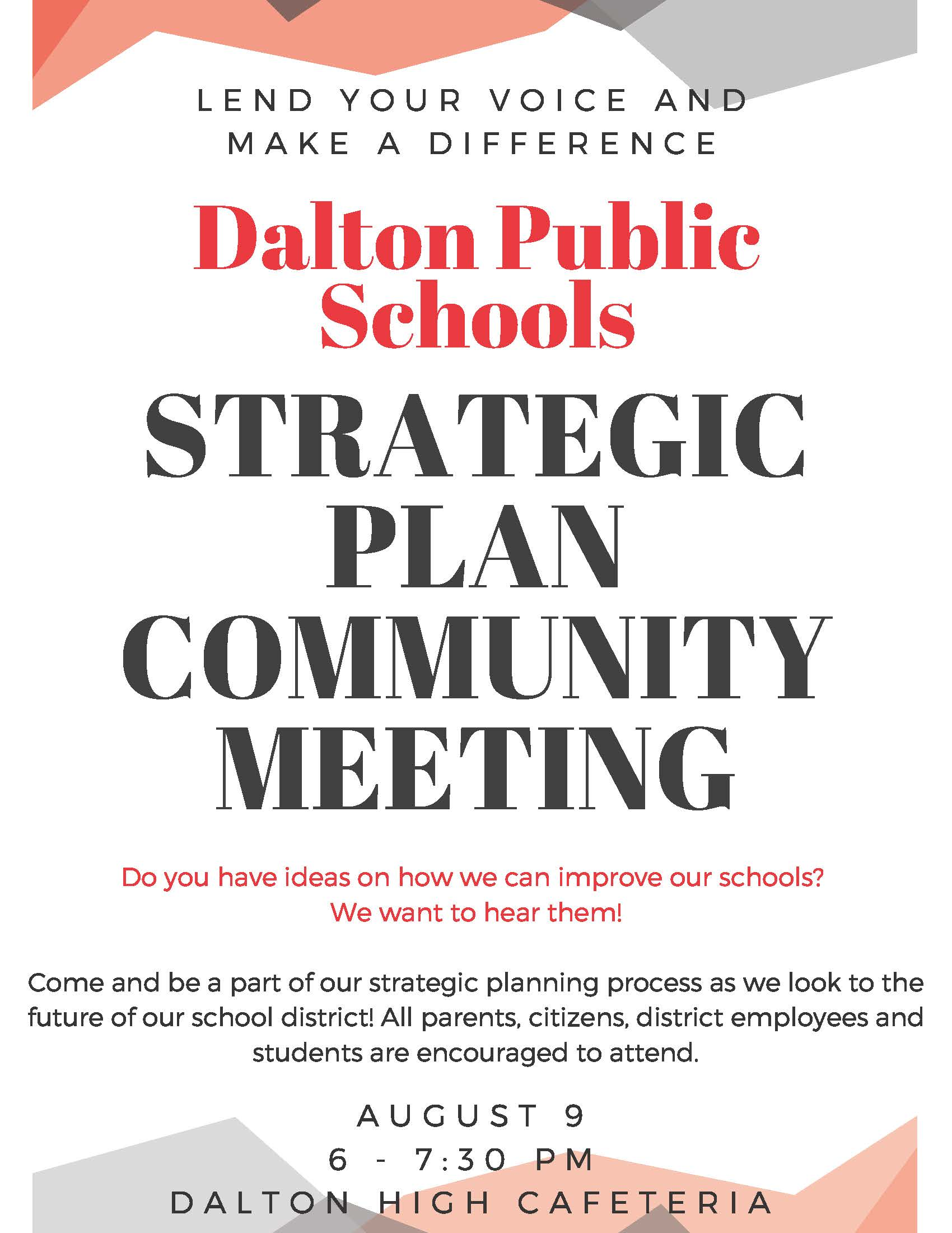 We Need To Hear From All Parents And >> You Re Invited Community Meeting On Our Strategic Plan