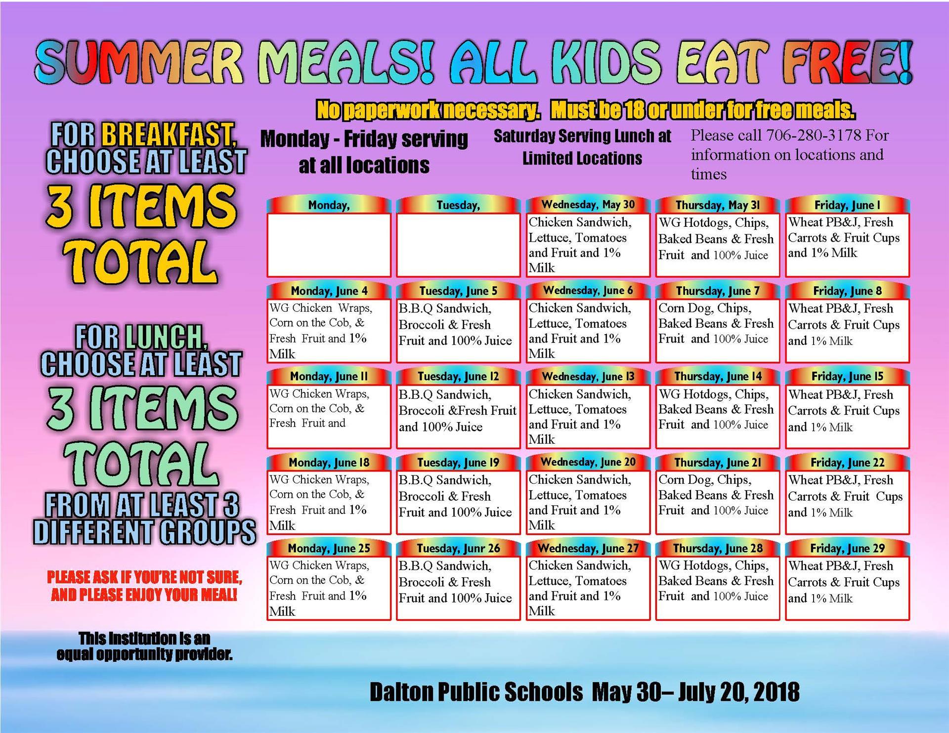 June Menu for DPS Summer Feeding