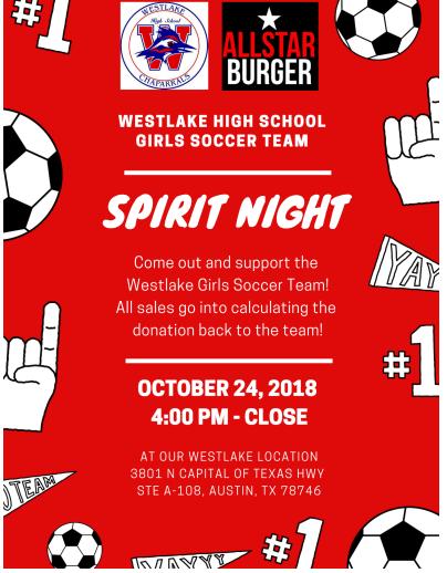 All Star Burger Girls Soccer Fundraiser