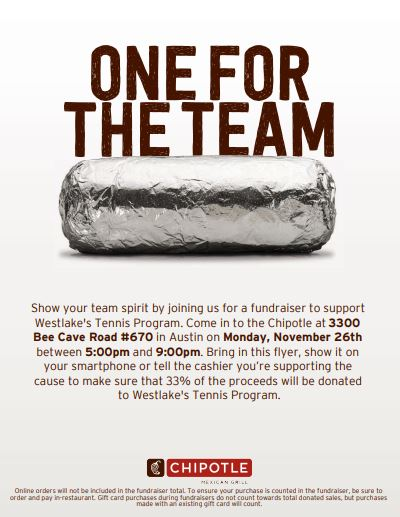 Chipotle Tennis fundraiser