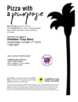 Westlake Chap Band Pizza w a Purpose flyer