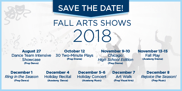 Save the date: Fall Arts Shows 2018 - Click for list