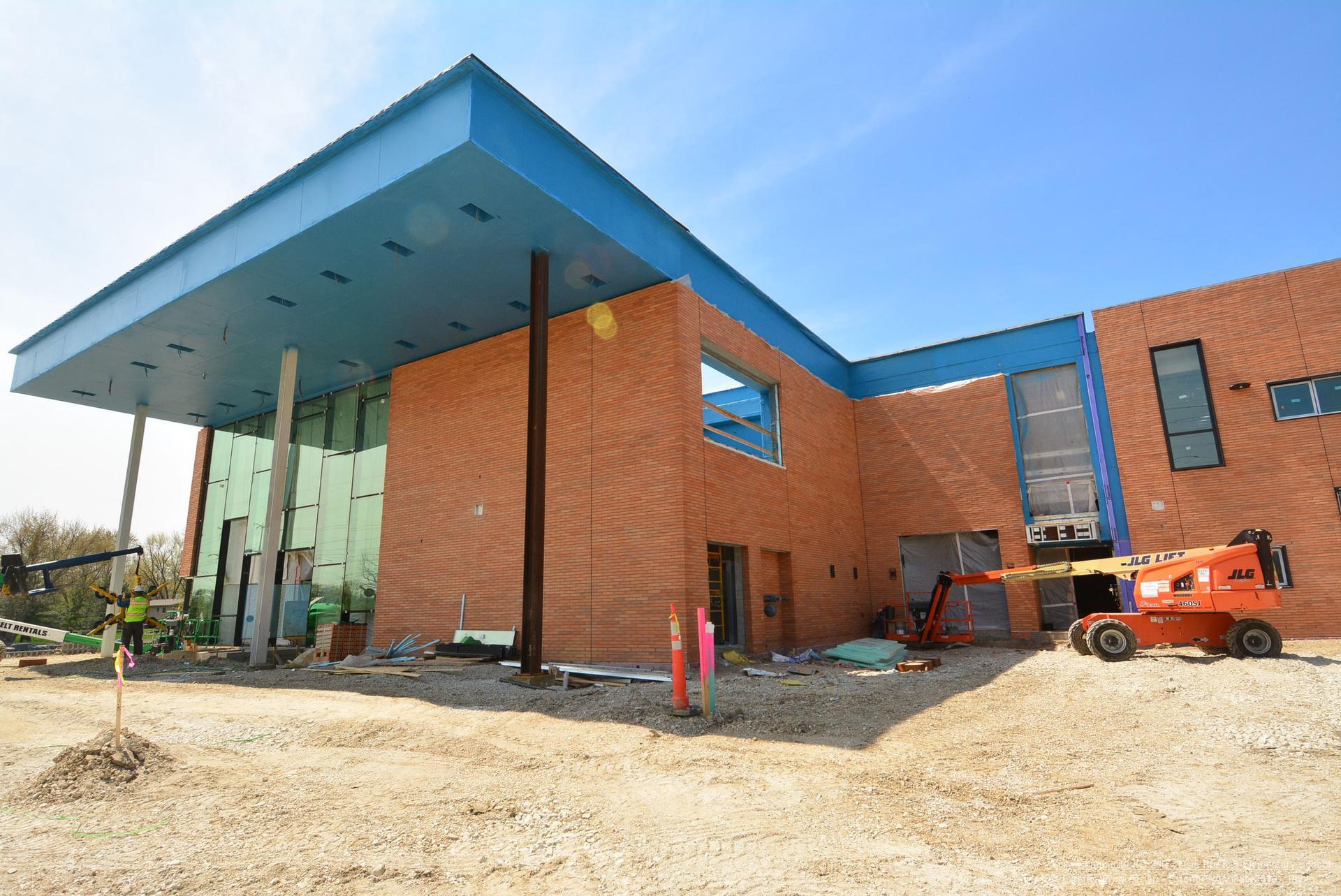 exterior construction progress - cafeteria entance