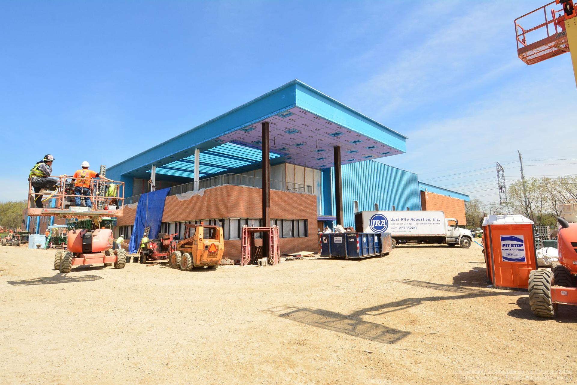 exterior construction progress - main entrance