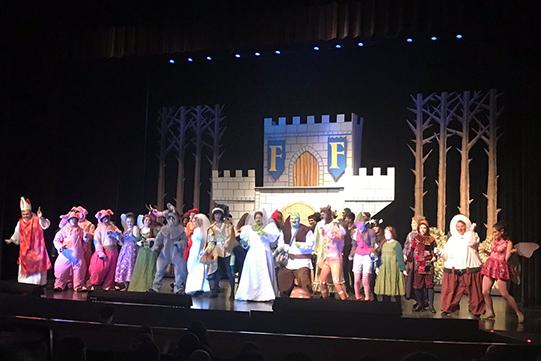Shrek cast on stage