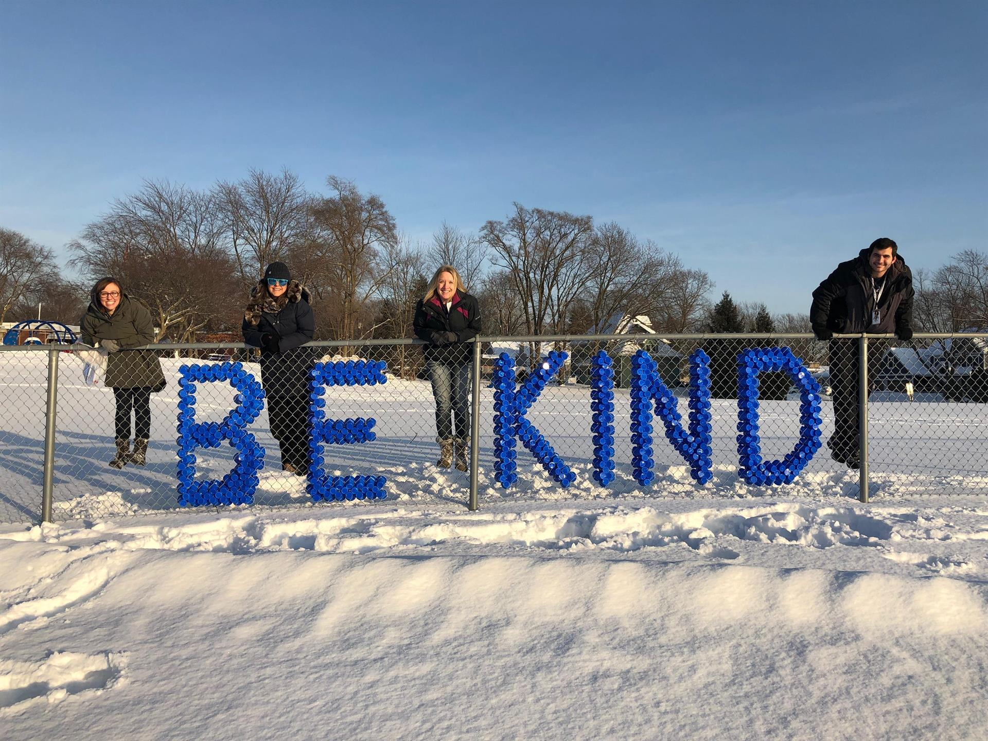 Be Kind sign on Schiesher Fence