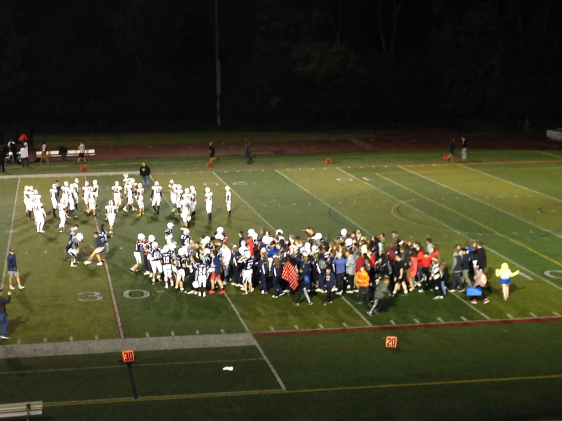 Fans and players celebrate on the field