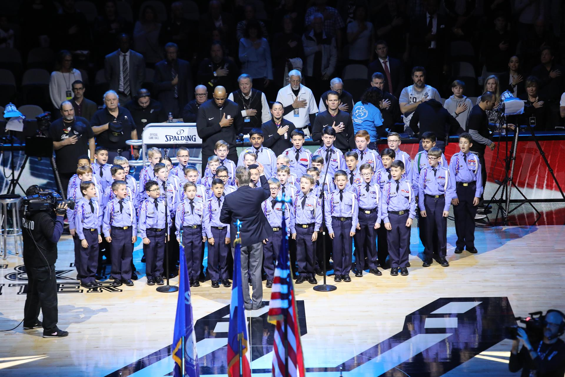 Concert Choir perform at Spurs vs. Clippers Game
