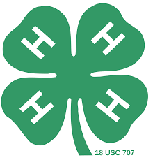 Official Logo of 4-H: A green 4 leaf clover with a white H on each clover.