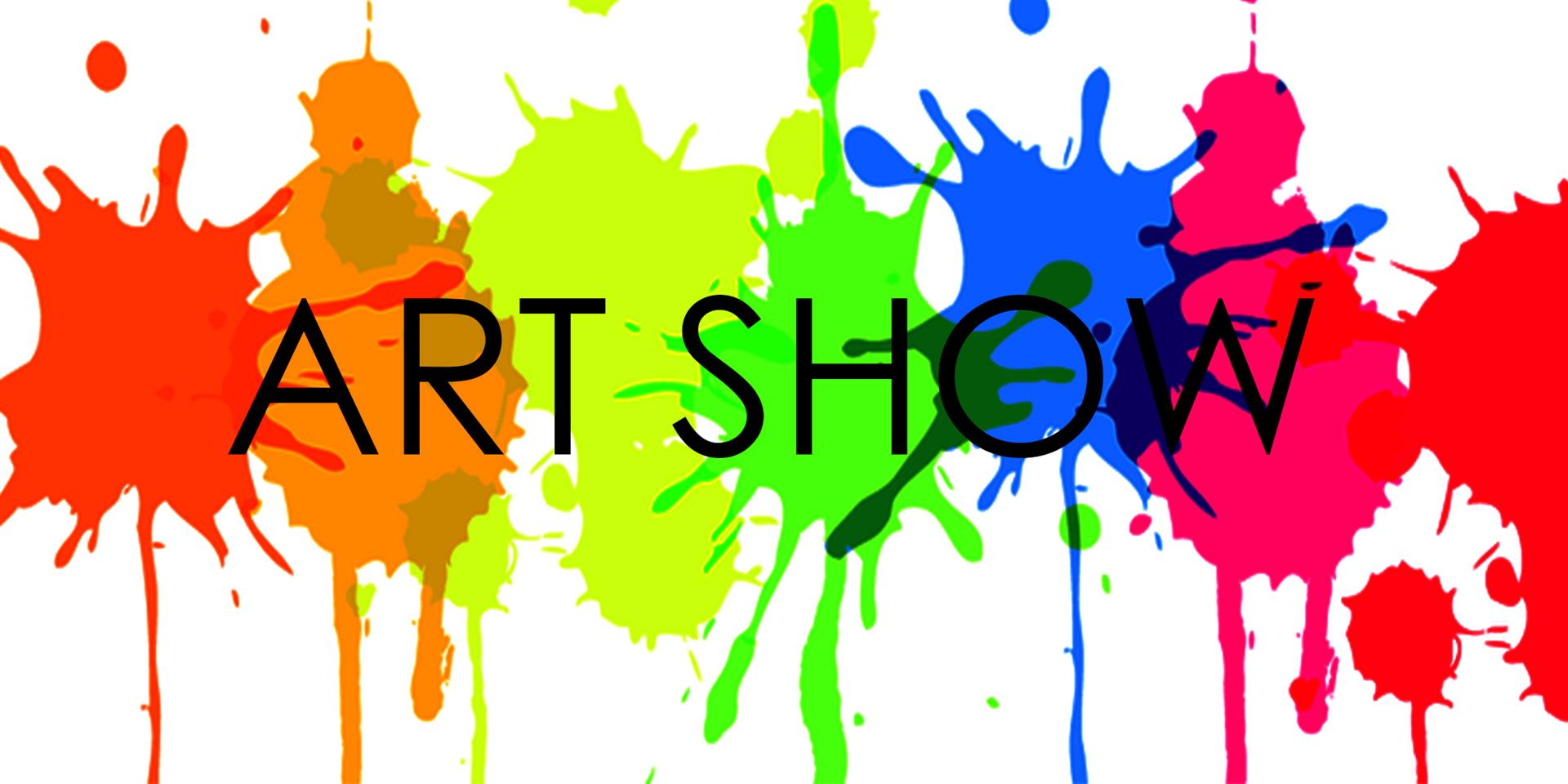 Art show printed in fine lines with a red, orange, light green, green, blue, and red blotches of paint as background.