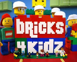 "Graphic saying ""Bricks 4 Kidz"" written in Legos with little Lego men around the back."