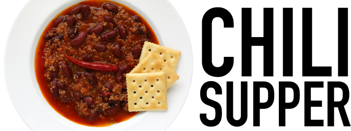 A bowl of chili with two crackers on the left and the words