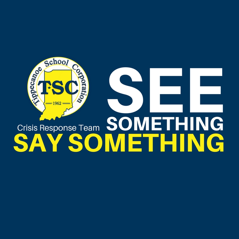 "Navy Blue square.  TSC Logo centered vertically on left side. (underneath the logo in small white letters is written Crisis Response Team)  Next to it in big white letters SEE Underneath ""Something""  Underneath something are these words in yellow ""Say Something"". Represents the concept of ""See Something; Say Something"" as a safety measure"