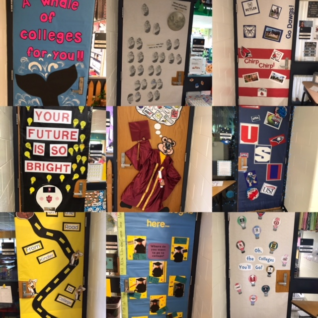 Collage of 9 classroom doors decorated for College Go Week.
