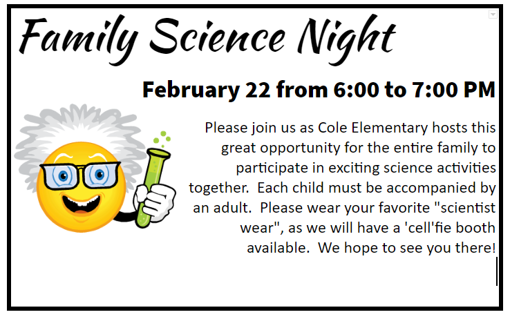 Family Science Night February 22 from 6-7 PM with a happy face emoji with a beeker and crazy hair underneath.
