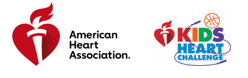 American Heart Association heart with a torch in red on left and a Kids Heart challenge symbol on the right.