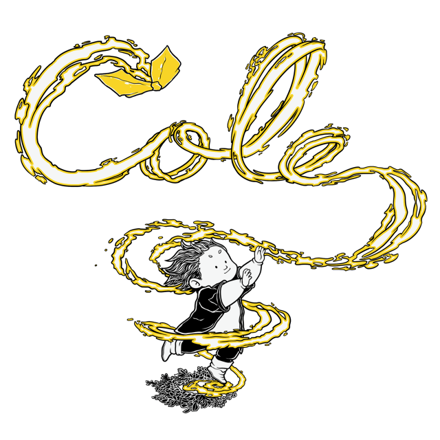 "An image of a little boy chasing a yellow ""Chance"" which looks like a paper airplane. In yellow the looping of the ""Chance"" draws out the words ""Cole"""