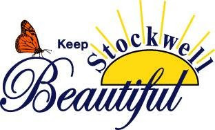 Official logo of Keep Stockwell Beautiful.  Computer image of a sun rising with the word Stockwell written over the perimeter of the half sphere. Keep is written to the left of the sun image in blue. Underneath in cursive in blue is the word Beautiful with an orange butterflyresting on the B