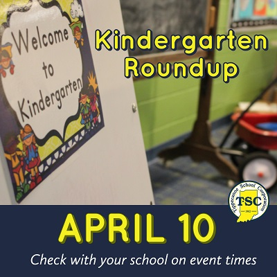 Graphic showing Kindergarten Roundup April 10