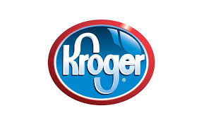 Logo of the grocery store, Kroger.  Oval shape outlined in red with blue background inside. Word