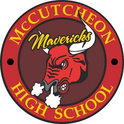 "Image of McCutcheon High School with a circle with yellow letter. Around the top, the word ""McCutcheon"" on the bottom curved are the words, ""High School"". In the middle is a red bull snorting from its nose with the word ""Mavericks"" written in yellow."