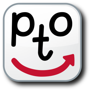 Image of the Letters P, T, and O in black looking like two eyes and a nose with a red line moving from left to right like a happy face - PTO