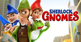"Movie Graphic for the movie ""Sherlock Gnomes"" with four gnomes wearing blue, green, and red hats."