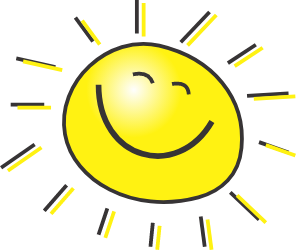 A yellow image of a sun that is smiling with rays coming off in all directions.
