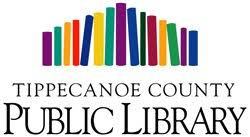 A line of different colored rectangles in the shape of a building (representing books) is across the top. Underneath the words Tippecanoe Count in small letters. Underneath it PUBLIC LIBRARY in capital bold letters.