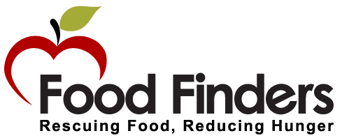 Food Finders Logo shows the outline of a red apple with the white core in the shape of a heart. Food Finders is written across the bottom third of the white background in black with the words Rescuing Food, Reducing Hunger written in small font underneath the Food Finders words.
