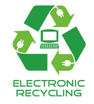 Image of the three arrows making a triangle signifying recycling with Electronic Recycling written underneath. All arrows have a white image of a plug that goes into a wall with a computer screen and keyboard in the middle.